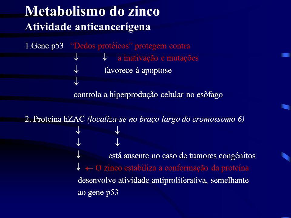 4. Próstata a.o zinco estimula a apostose das células; b.proteje contra malignização: m - aconitase inibição por Zn citrato normal citrato oxidado mal