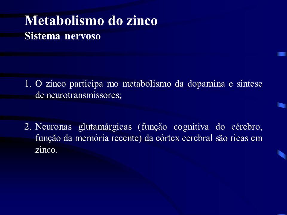 Metabolismo do zinco Visão O zinco é o oligoelemento mais abundante no olho Retinol (fígado) Retinol-dehidrogenese-Zn-dependente Retinol (olho) Retina