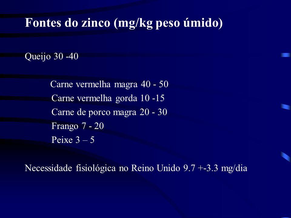 Fontes do zinco (mg/kg peso úmido) Queijo 30 -40 Carne vermelha magra 40 - 50 Carne vermelha gorda 10 -15 Carne de porco magra 20 - 30 Frango 7 - 20 Peixe 3 – 5 Necessidade fisiológica no Reino Unido 9.7 +-3.3 mg/dia