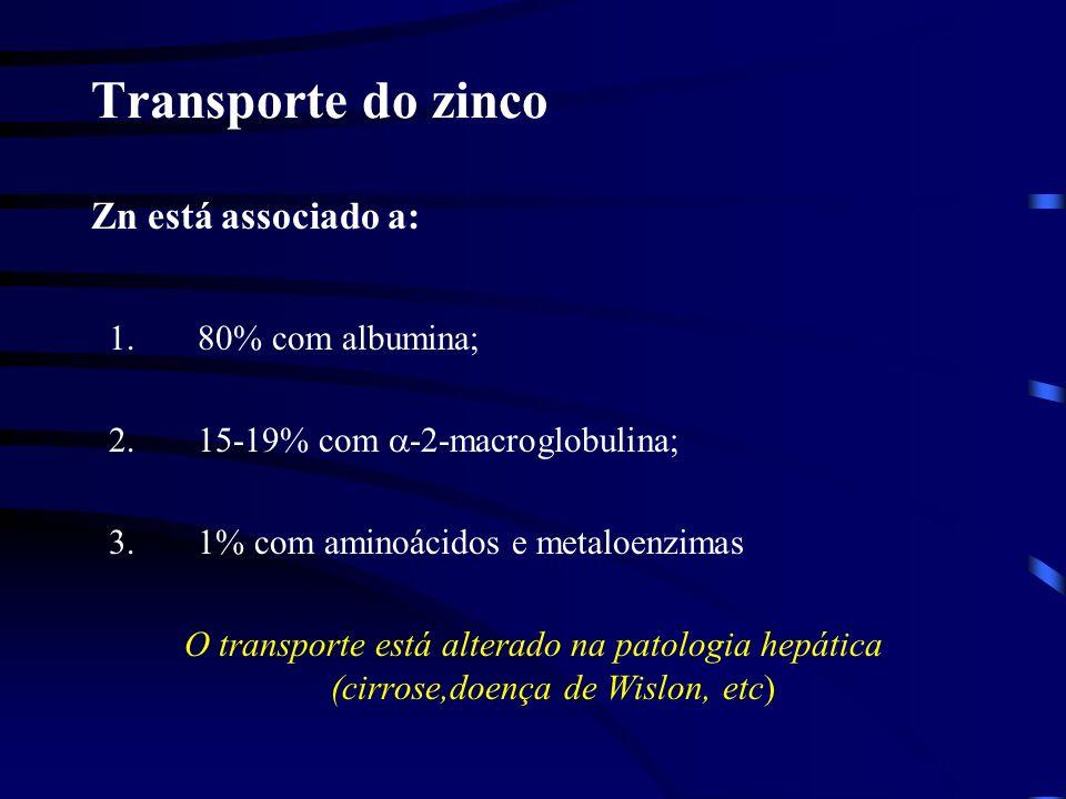 Transporte do zinco Zn está associado a: 1.80% com albumina; 2.15-19% com -2-macroglobulina; 3.1% com aminoácidos e metaloenzimas O transporte está alterado na patologia hepática (cirrose,doença de Wislon, etc)