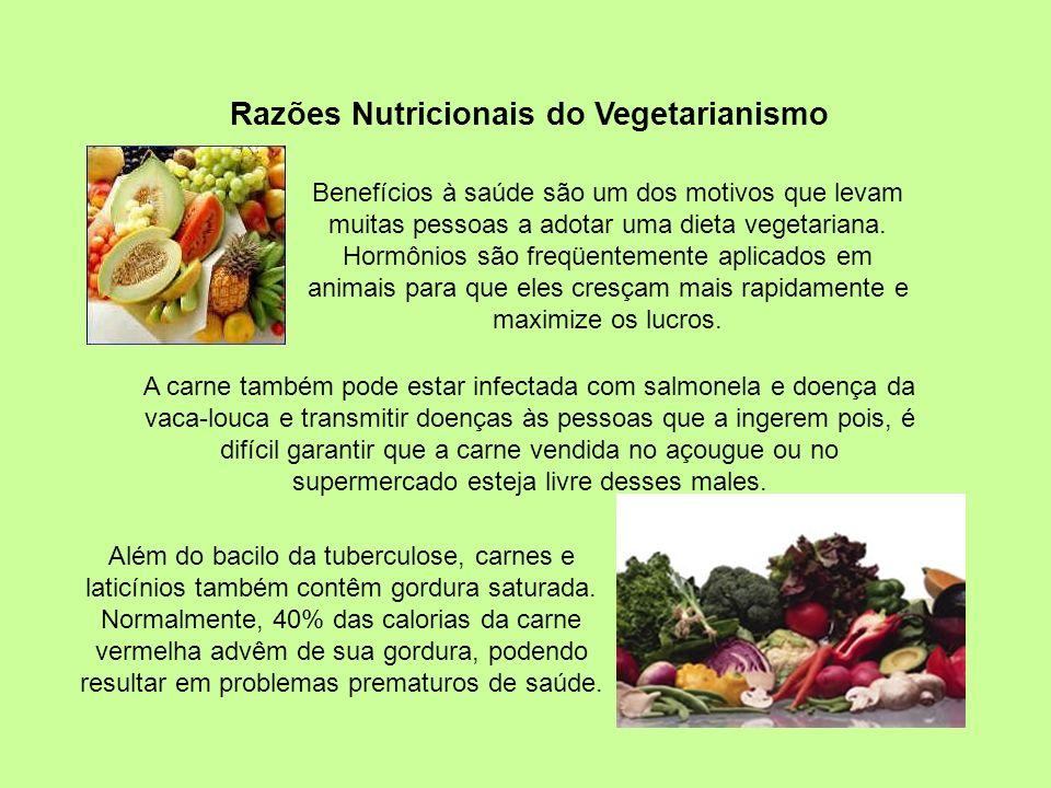 Razões Nutricionais do Vegetarianismo Além do bacilo da tuberculose, carnes e laticínios também contêm gordura saturada.
