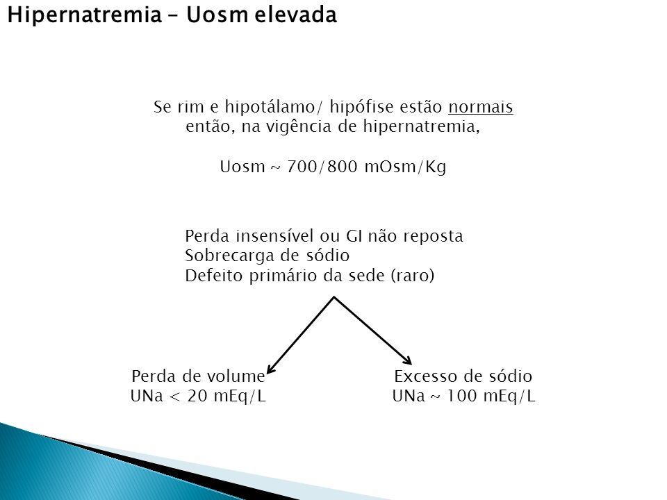 Se rim e hipotálamo/ hipófise estão normais então, na vigência de hipernatremia, Uosm ~ 700/800 mOsm/Kg Perda insensível ou GI não reposta Sobrecarga de sódio Defeito primário da sede (raro) Perda de volume UNa < 20 mEq/L Excesso de sódio UNa ~ 100 mEq/L Hipernatremia – Uosm elevada