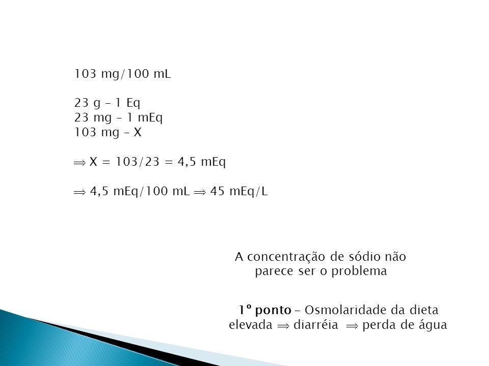 103 mg/100 mL 23 g – 1 Eq 23 mg – 1 mEq 103 mg – X X = 103/23 = 4,5 mEq 4,5 mEq/100 mL 45 mEq/L A concentração de sódio não parece ser o problema 1º ponto - Osmolaridade da dieta elevada diarréia perda de água