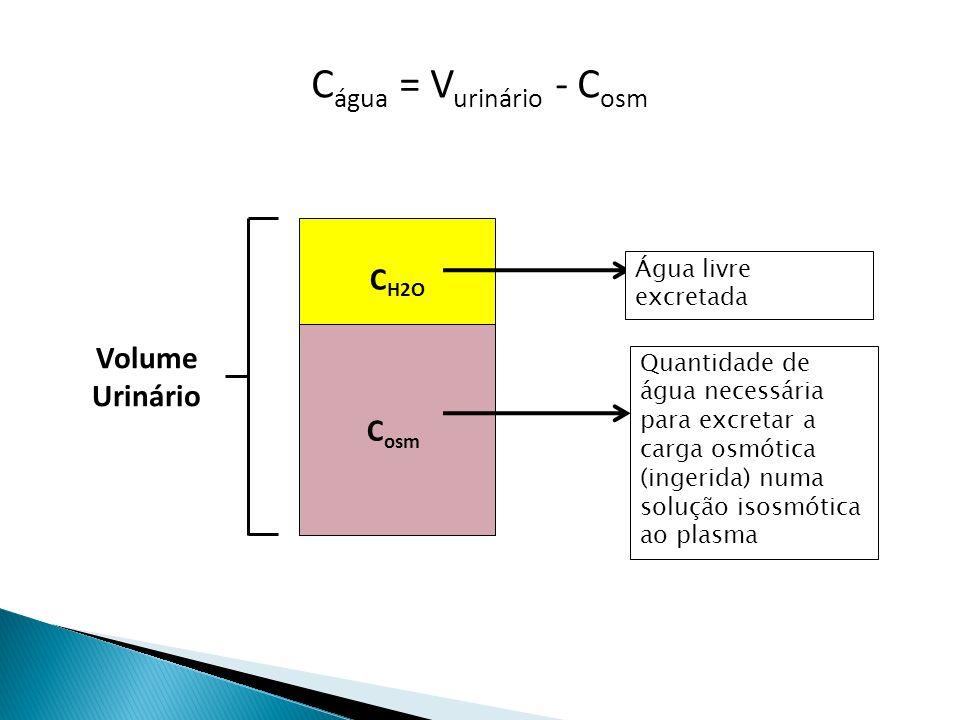 C água = V urinário - C osm C osm C H2O Volume Urinário Quantidade de água necessária para excretar a carga osmótica (ingerida) numa solução isosmótica ao plasma Água livre excretada