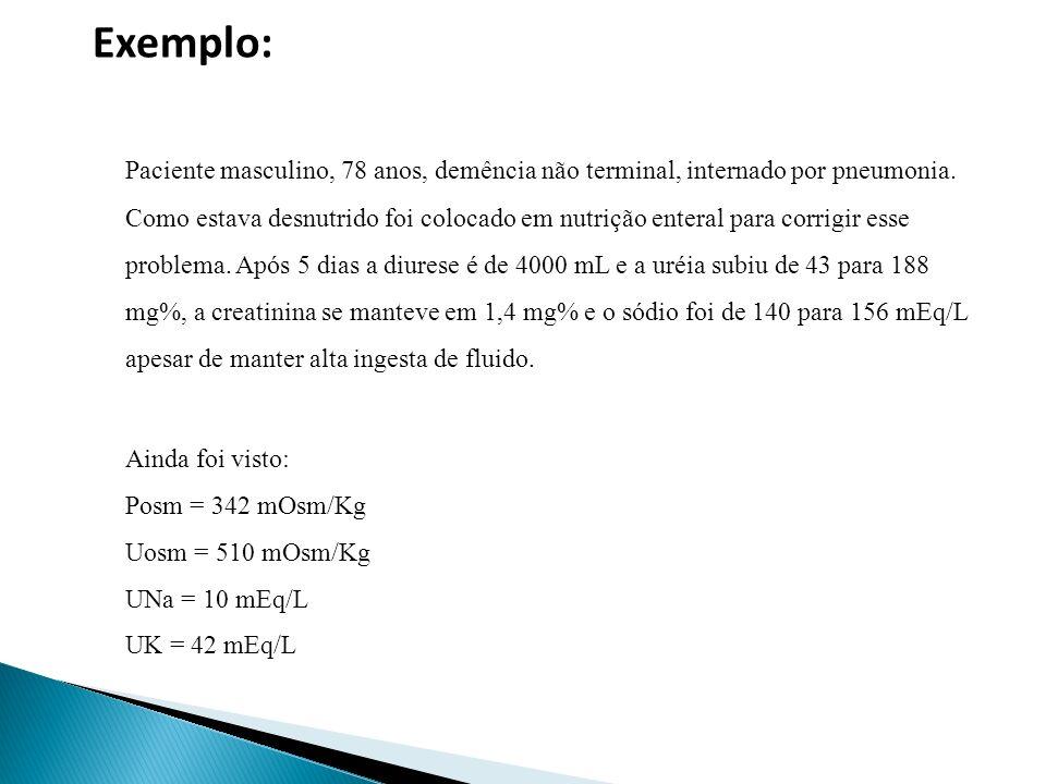 Exemplo: Paciente masculino, 78 anos, demência não terminal, internado por pneumonia.