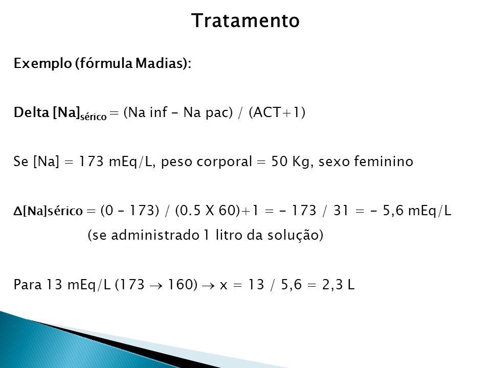 Exemplo (fórmula Madias): Delta [Na] sérico = (Na inf - Na pac) / (ACT+1) Se [Na] = 173 mEq/L, peso corporal = 50 Kg, sexo feminino Δ[Na]sérico = (0 – 173) / (0.5 X 60)+1 = - 173 / 31 = - 5,6 mEq/L (se administrado 1 litro da solução) Para 13 mEq/L (173 160) x = 13 / 5,6 = 2,3 L Tratamento
