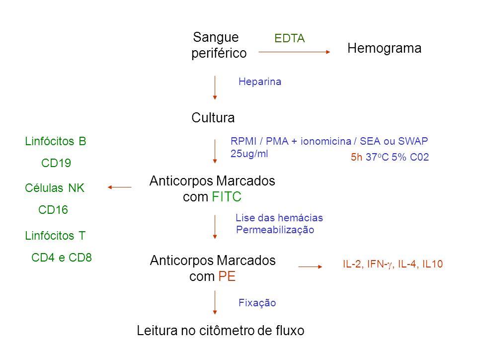 Heparina Cultura Hemograma EDTA RPMI / PMA + ionomicina / SEA ou SWAP 25ug/ml 5h 37 o C 5% C02 Fixação Leitura no citômetro de fluxo Sangue periférico