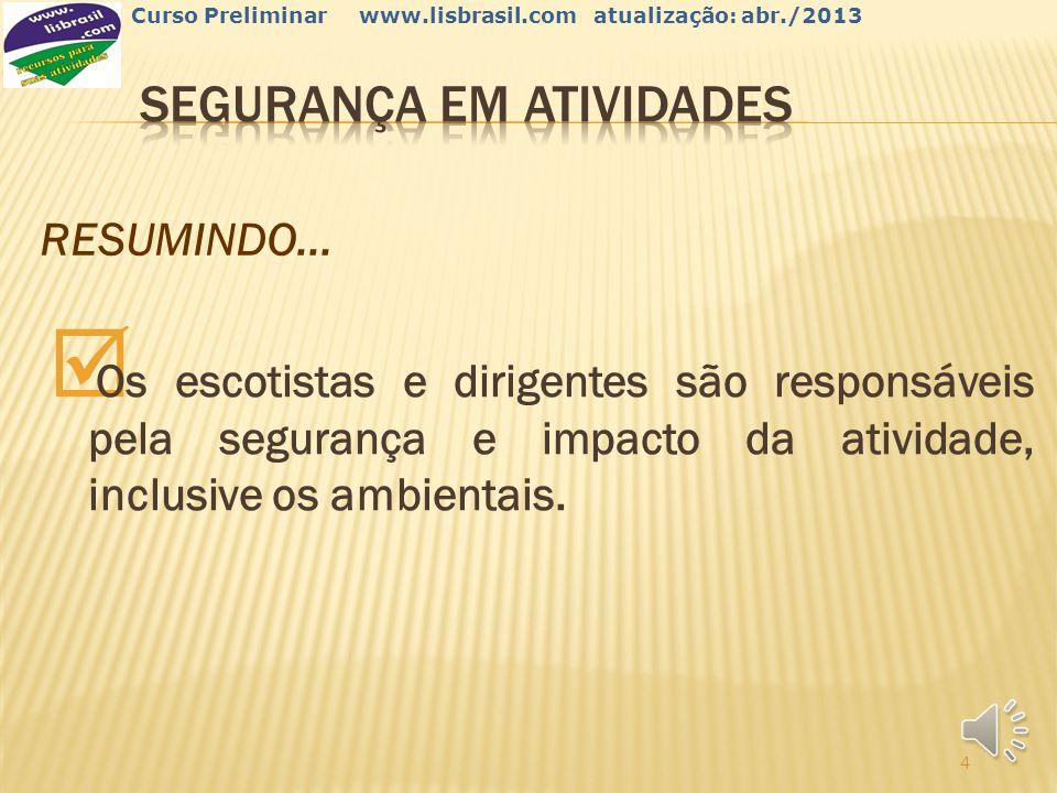 3 Curso Preliminar www.lisbrasil.com atualização: abr./2013 Devemos garantir também: Informações dos participantes (dieta, medicação, etc.).