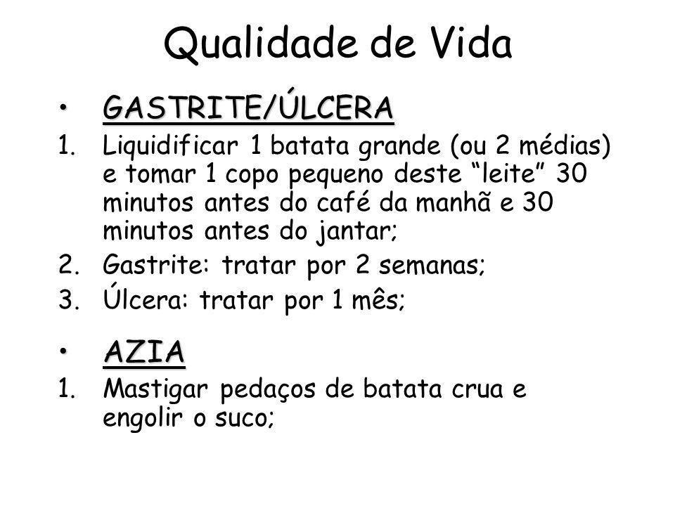 Qualidade de Vida GASTRITE/ÚLCERAGASTRITE/ÚLCERA 1.Liquidificar 1 batata grande (ou 2 médias) e tomar 1 copo pequeno deste leite 30 minutos antes do c
