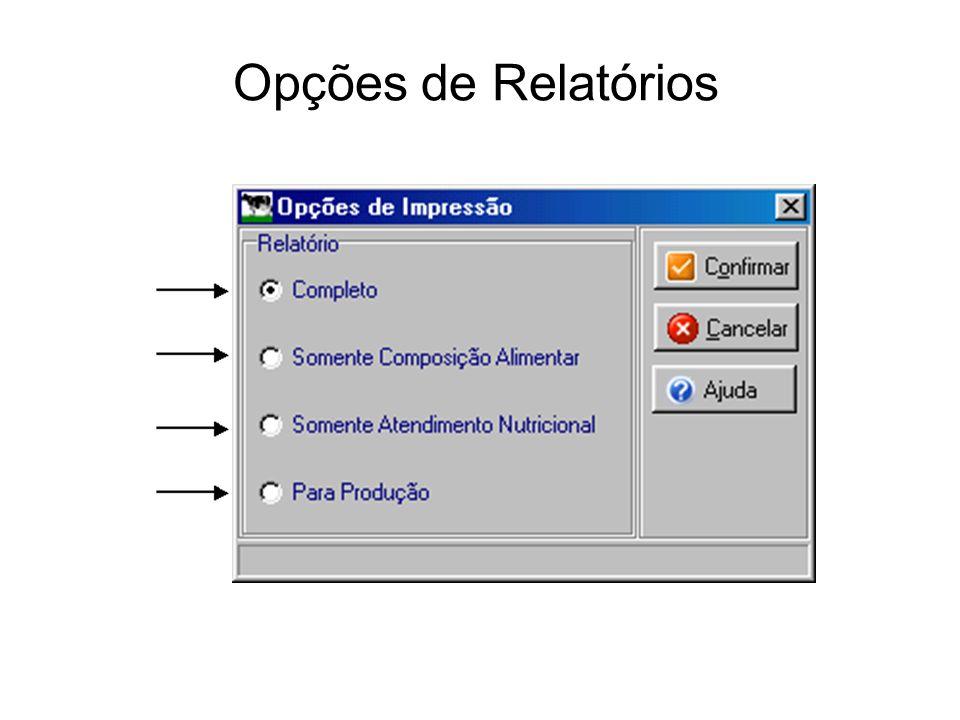 Opções de Relatórios