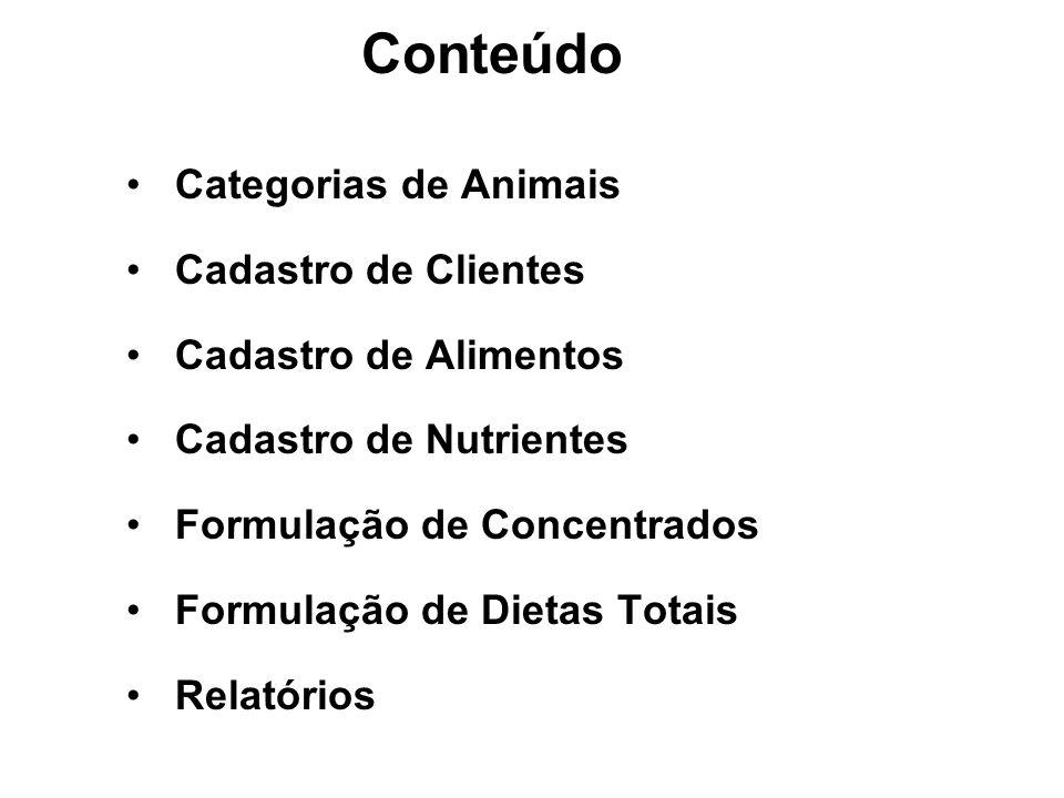 Categorias de Animais Cadastro de Clientes Cadastro de Alimentos Cadastro de Nutrientes Formulação de Concentrados Formulação de Dietas Totais Relatór