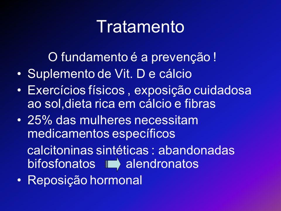 Tratamento O fundamento é a prevenção ! Suplemento de Vit. D e cálcio Exercícios físicos, exposição cuidadosa ao sol,dieta rica em cálcio e fibras 25%