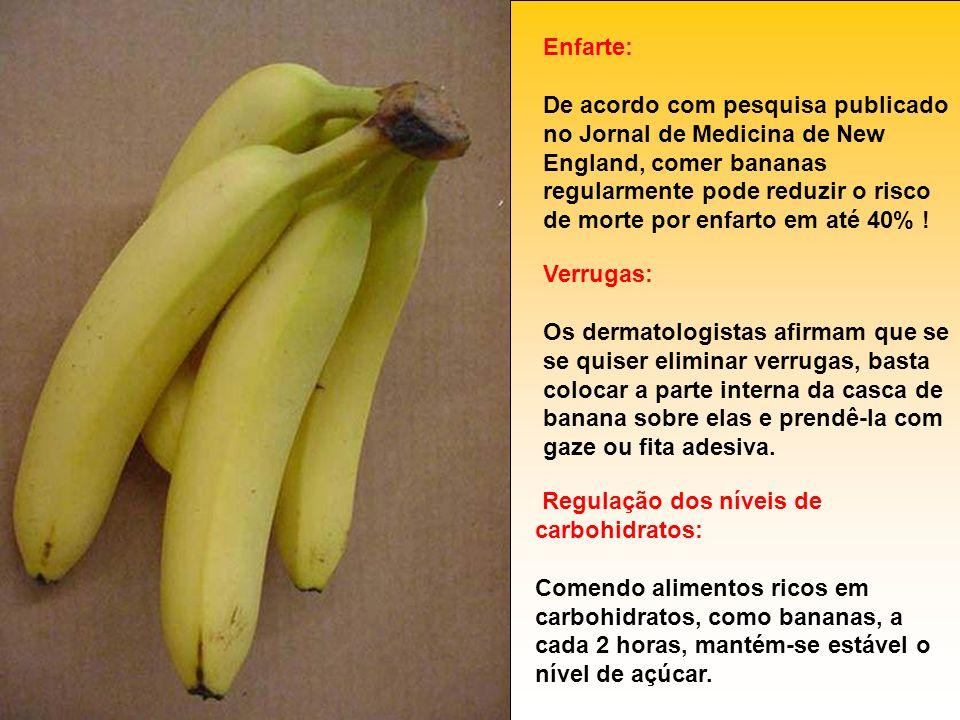 Enfarte: De acordo com pesquisa publicado no Jornal de Medicina de New England, comer bananas regularmente pode reduzir o risco de morte por enfarto e