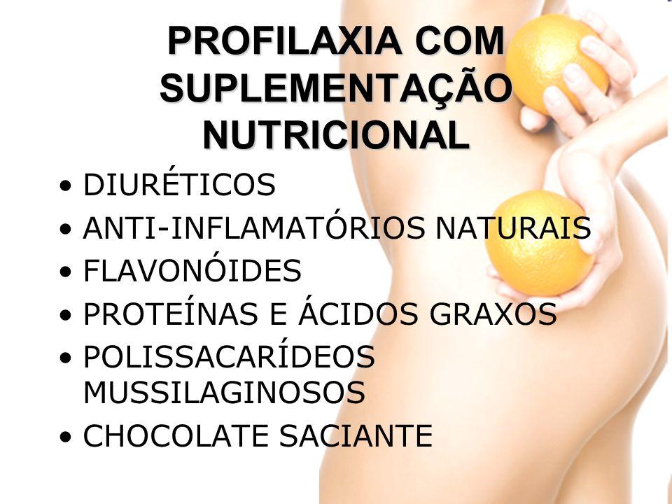 PROFILAXIA COM SUPLEMENTAÇÃO NUTRICIONAL DIURÉTICOS ANTI-INFLAMATÓRIOS NATURAIS FLAVONÓIDES PROTEÍNAS E ÁCIDOS GRAXOS POLISSACARÍDEOS MUSSILAGINOSOS CHOCOLATE SACIANTE