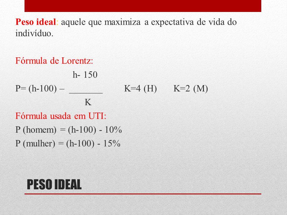PESO IDEAL Peso ideal: aquele que maximiza a expectativa de vida do indivíduo. Fórmula de Lorentz: h- 150 P= (h-100) – _______ K=4 (H) K=2 (M) K Fórmu