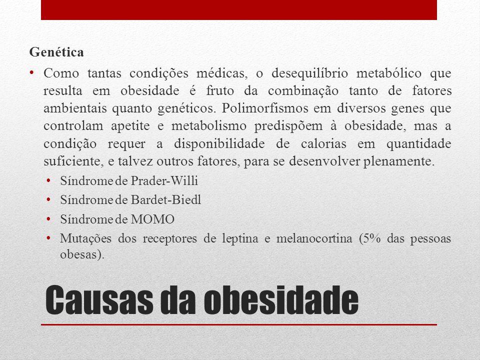 Causas da obesidade Genética Como tantas condições médicas, o desequilíbrio metabólico que resulta em obesidade é fruto da combinação tanto de fatores
