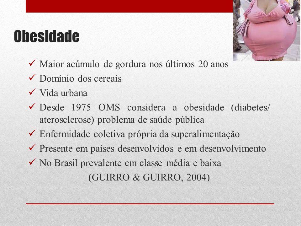 Obesidade Maior acúmulo de gordura nos últimos 20 anos Domínio dos cereais Vida urbana Desde 1975 OMS considera a obesidade (diabetes/ aterosclerose)