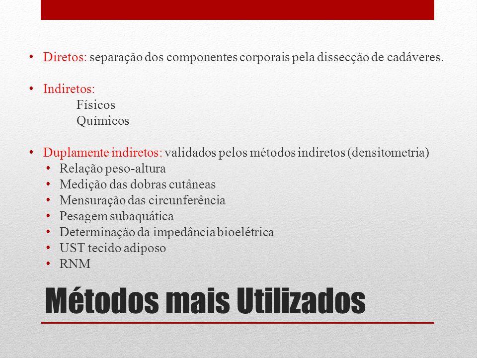 Métodos mais Utilizados Diretos: separação dos componentes corporais pela dissecção de cadáveres. Indiretos: Físicos Químicos Duplamente indiretos: va