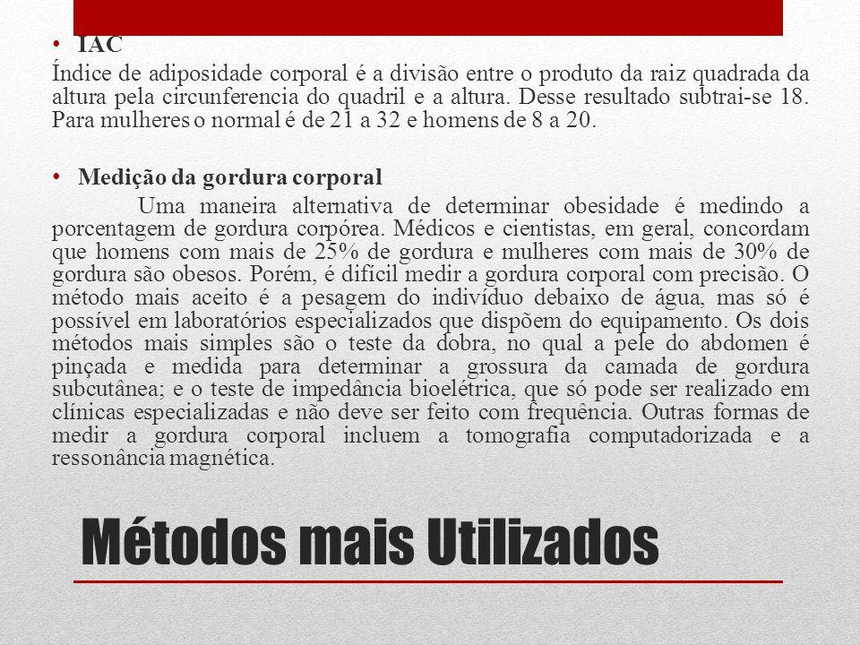 Métodos mais Utilizados IAC Índice de adiposidade corporal é a divisão entre o produto da raiz quadrada da altura pela circunferencia do quadril e a a