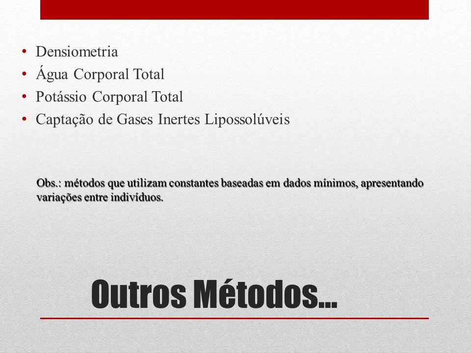 Outros Métodos... Densiometria Água Corporal Total Potássio Corporal Total Captação de Gases Inertes Lipossolúveis Obs.: métodos que utilizam constant