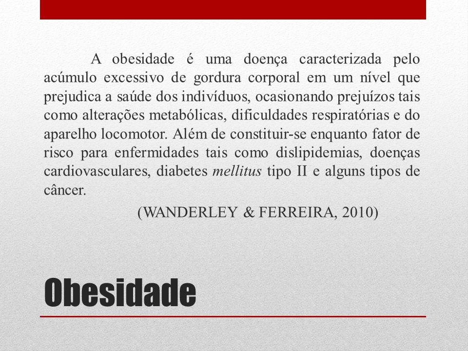 Obesidade A obesidade é uma doença caracterizada pelo acúmulo excessivo de gordura corporal em um nível que prejudica a saúde dos indivíduos, ocasiona
