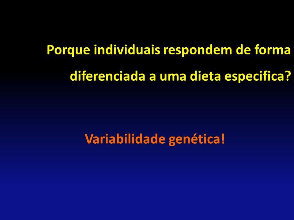 Porque individuais respondem de forma diferenciada a uma dieta especifica? Variabilidade genética!