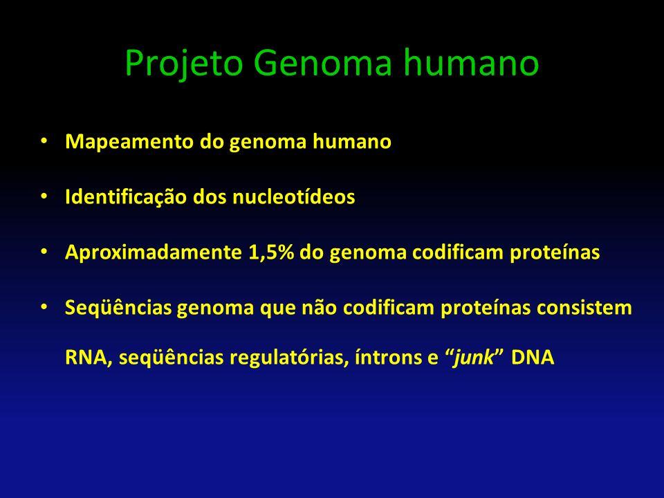 Projeto Genoma humano Mapeamento do genoma humano Identificação dos nucleotídeos Aproximadamente 1,5% do genoma codificam proteínas Seqüências genoma