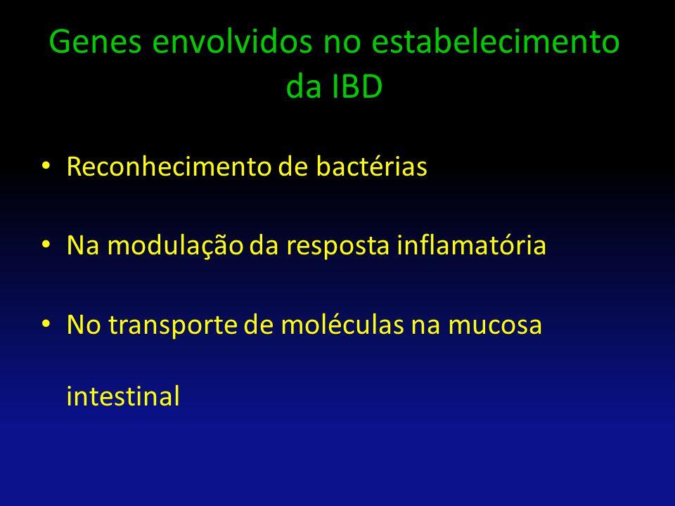 Genes envolvidos no estabelecimento da IBD Reconhecimento de bactérias Na modulação da resposta inflamatória No transporte de moléculas na mucosa inte