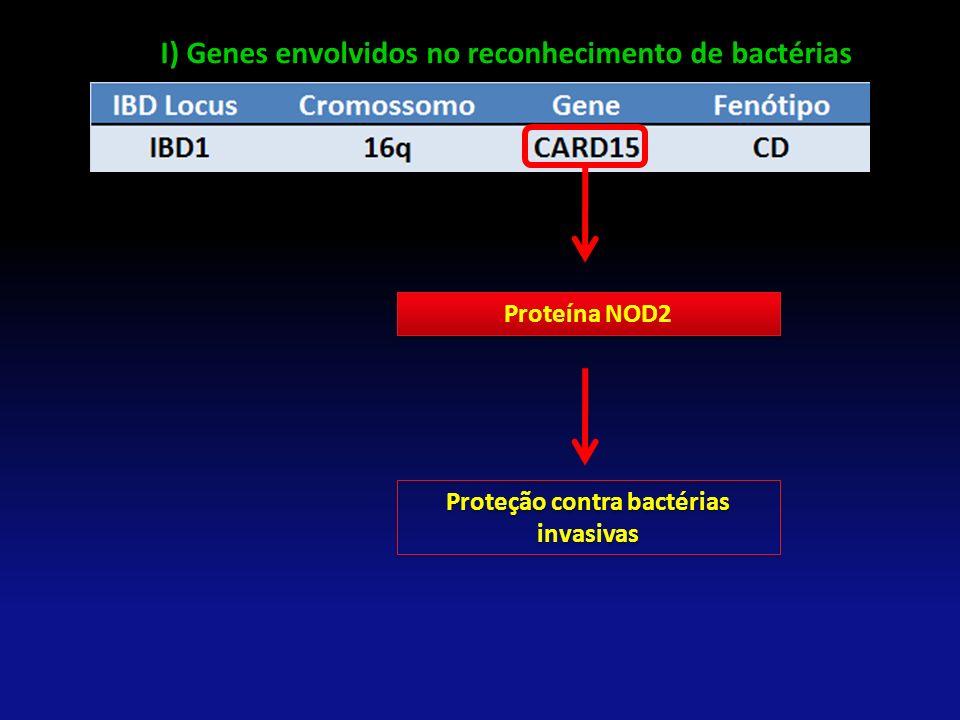 Proteína NOD2 Proteção contra bactérias invasivas I) Genes envolvidos no reconhecimento de bactérias