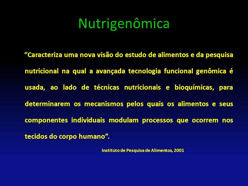 Nutrigenômica Caracteriza uma nova visão do estudo de alimentos e da pesquisa nutricional na qual a avançada tecnologia funcional genômica é usada, ao