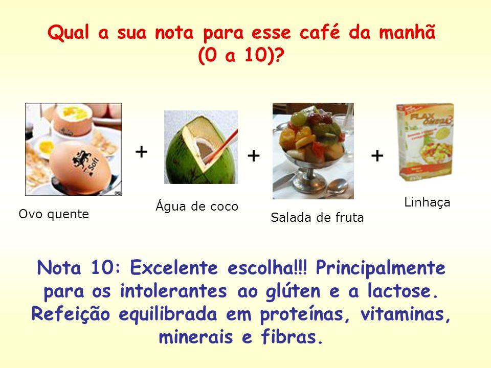 Café com leite com açúcar + Pão francês + Manteiga + Presunto Nota 4: café da manhã pobre em fibras, vitaminas e minerais. Além disso é rico em carboi
