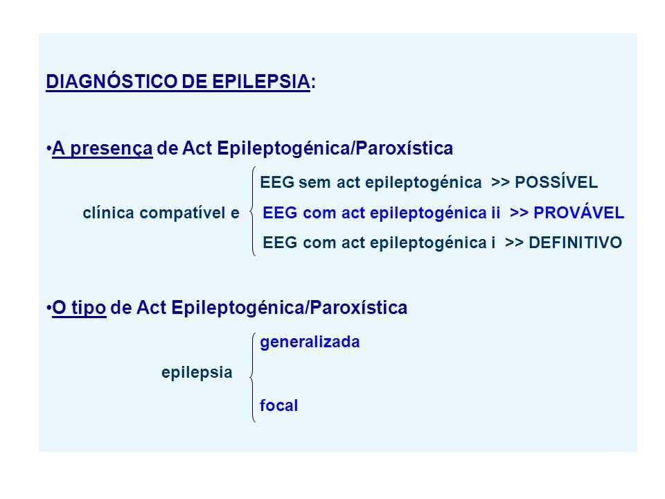 DIAGNÓSTICO DE EPILEPSIA: A presença de Act Epileptogénica/Paroxística EEG sem act epileptogénica >> POSSÍVEL clínica compatível e EEG com act epileptogénica ii >> PROVÁVEL EEG com act epileptogénica i >> DEFINITIVO O tipo de Act Epileptogénica/Paroxística generalizada epilepsia focal