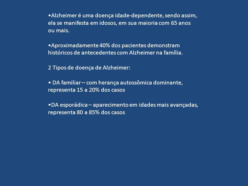 Alzheimer é uma doença idade-dependente, sendo assim, ela se manifesta em idosos, em sua maioria com 65 anos ou mais.