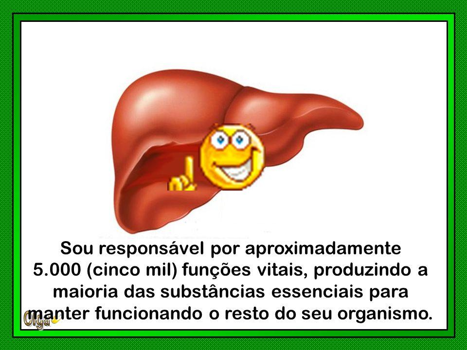 Sou responsável por aproximadamente 5.000 (cinco mil) funções vitais, produzindo a maioria das substâncias essenciais para manter funcionando o resto do seu organismo.