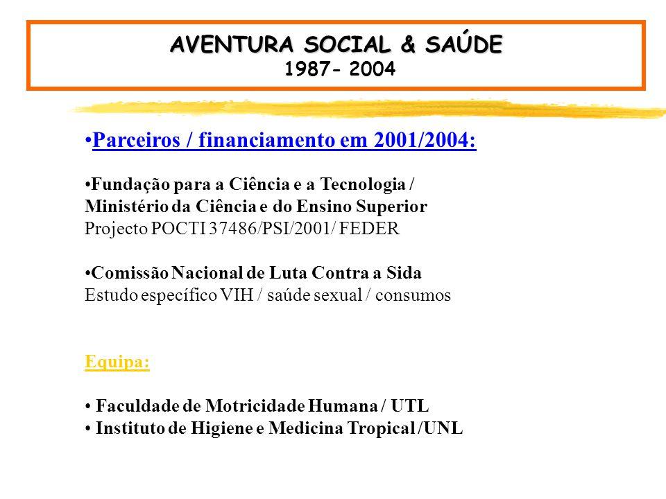 AVENTURA SOCIAL Faculdade de Motricidade Humana / UTL Instituto de Higiene e Medicina Tropical / UNL Promoção da Saúde / Comportamento Social A Saúde