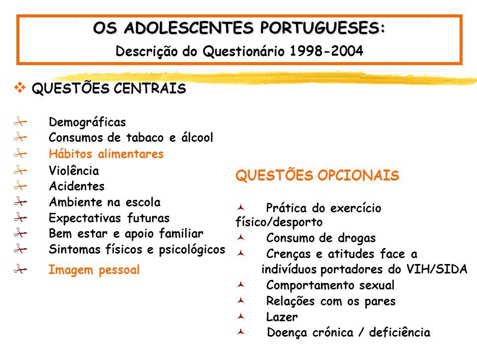 OS ADOLESCENTES PORTUGUESES HBSC - Health Behaviour in School-aged Children- Estudo realizado de 4 em 4 anos - amostras nacionais.