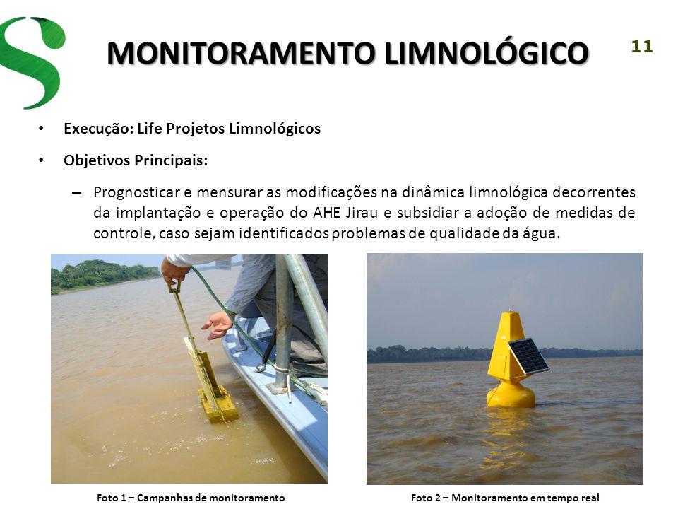 11 MONITORAMENTO LIMNOLÓGICO Execução: Life Projetos Limnológicos Objetivos Principais: – Prognosticar e mensurar as modificações na dinâmica limnológ