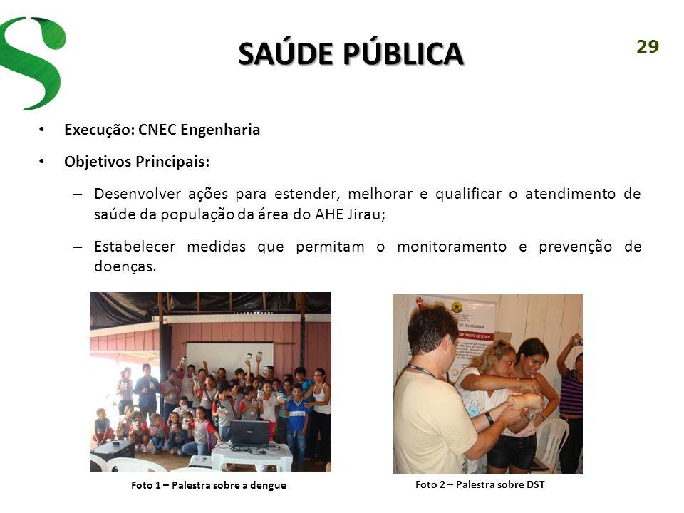29 SAÚDE PÚBLICA Execução: CNEC Engenharia Objetivos Principais: – Desenvolver ações para estender, melhorar e qualificar o atendimento de saúde da po