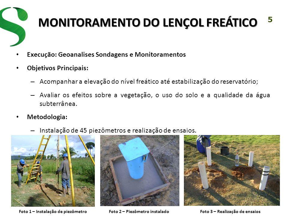 5 MONITORAMENTO DO LENÇOL FREÁTICO Execução: Geoanalises Sondagens e Monitoramentos Objetivos Principais: – Acompanhar a elevação do nível freático at