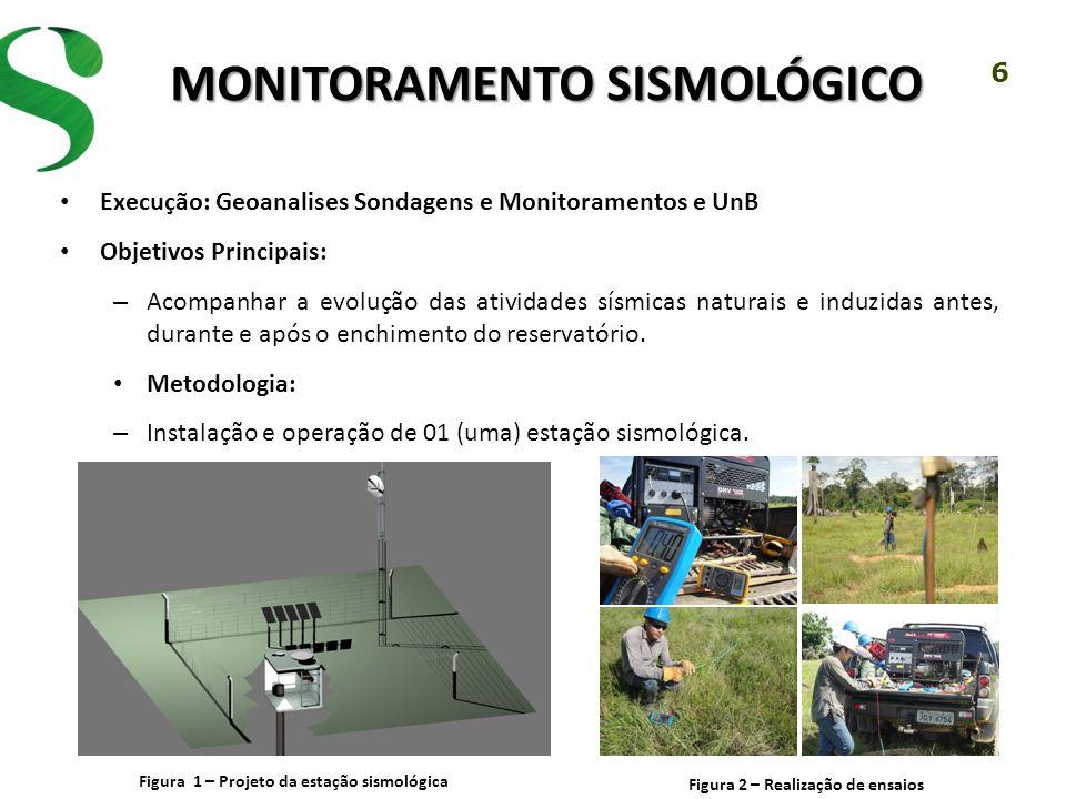 6 MONITORAMENTO SISMOLÓGICO Execução: Geoanalises Sondagens e Monitoramentos e UnB Objetivos Principais: – Acompanhar a evolução das atividades sísmic