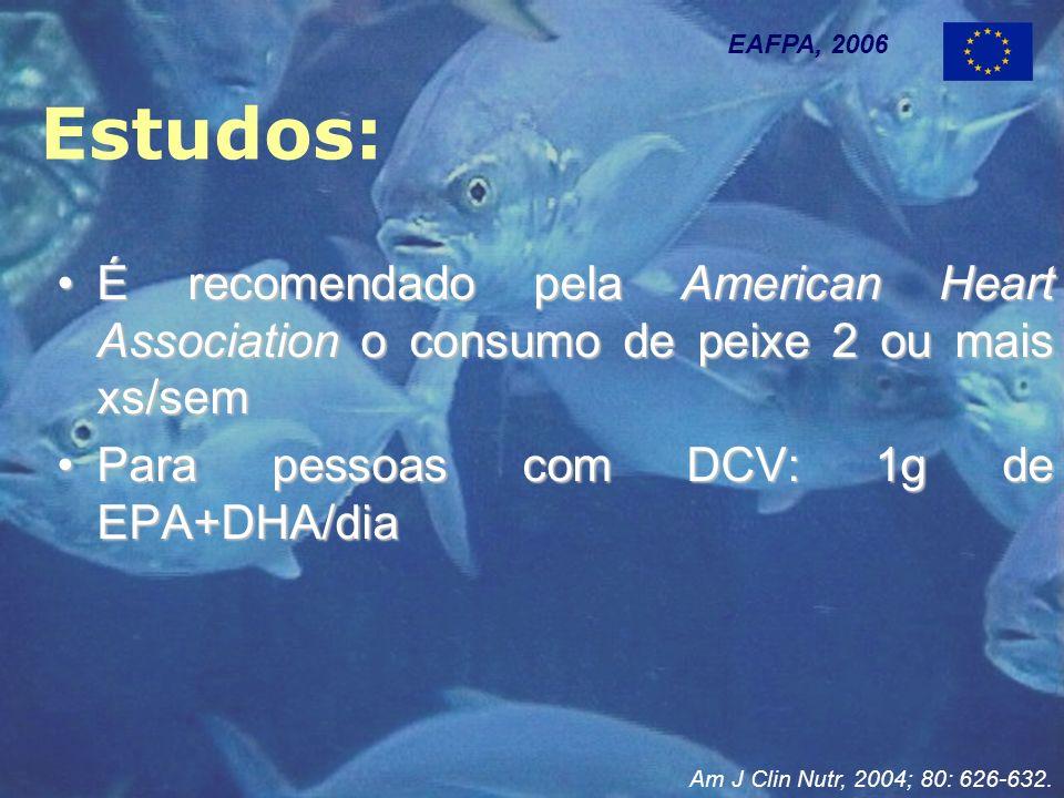 Estudos: EAFPA, 2006 É recomendado pela American Heart Association o consumo de peixe 2 ou mais xs/semÉ recomendado pela American Heart Association o consumo de peixe 2 ou mais xs/sem Para pessoas com DCV: 1g de EPA+DHA/diaPara pessoas com DCV: 1g de EPA+DHA/dia Am J Clin Nutr, 2004; 80: 626-632.