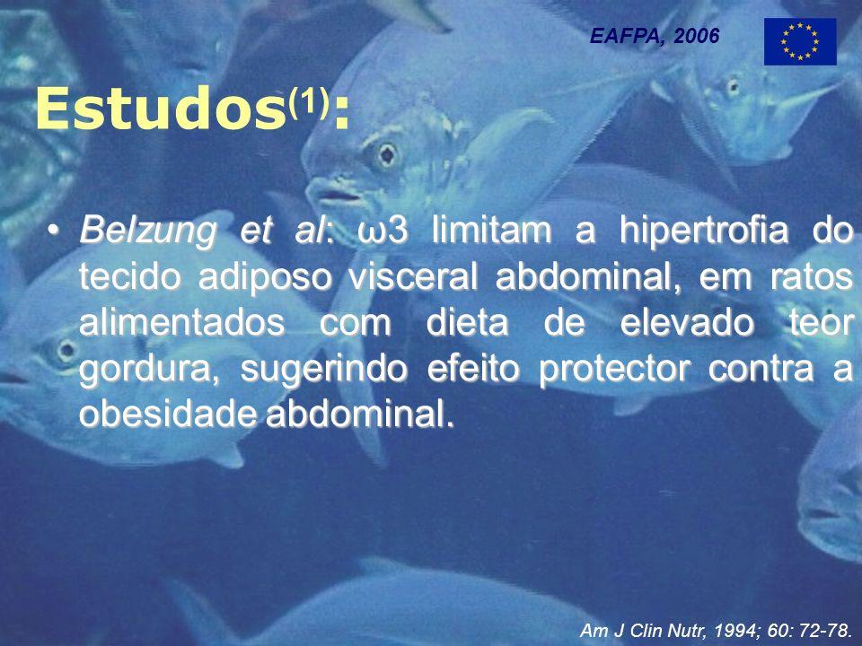 Estudos (1) : EAFPA, 2006 Belzung et al: ω3 limitam a hipertrofia do tecido adiposo visceral abdominal, em ratos alimentados com dieta de elevado teor gordura, sugerindo efeito protector contra a obesidade abdominal.Belzung et al: ω3 limitam a hipertrofia do tecido adiposo visceral abdominal, em ratos alimentados com dieta de elevado teor gordura, sugerindo efeito protector contra a obesidade abdominal.