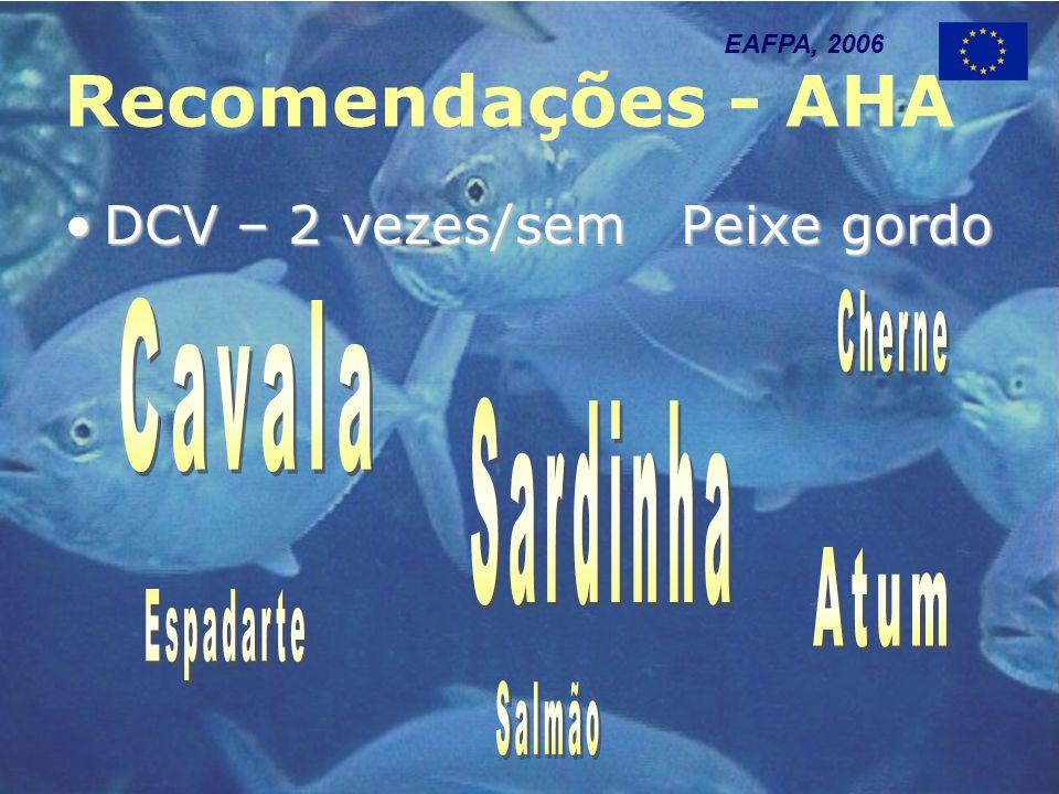 Recomendações - AHA DCV – 2 vezes/sem Peixe gordoDCV – 2 vezes/sem Peixe gordo EAFPA, 2006
