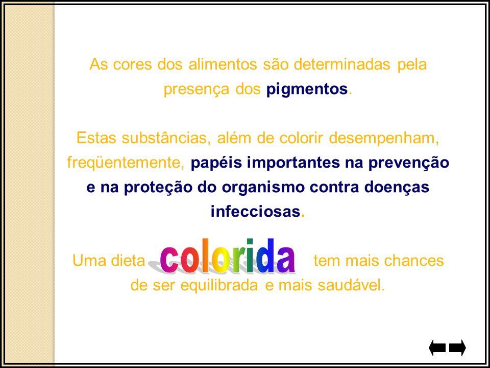 As cores dos alimentos são determinadas pela presença dos pigmentos. Estas substâncias, além de colorir desempenham, freqüentemente, papéis importante