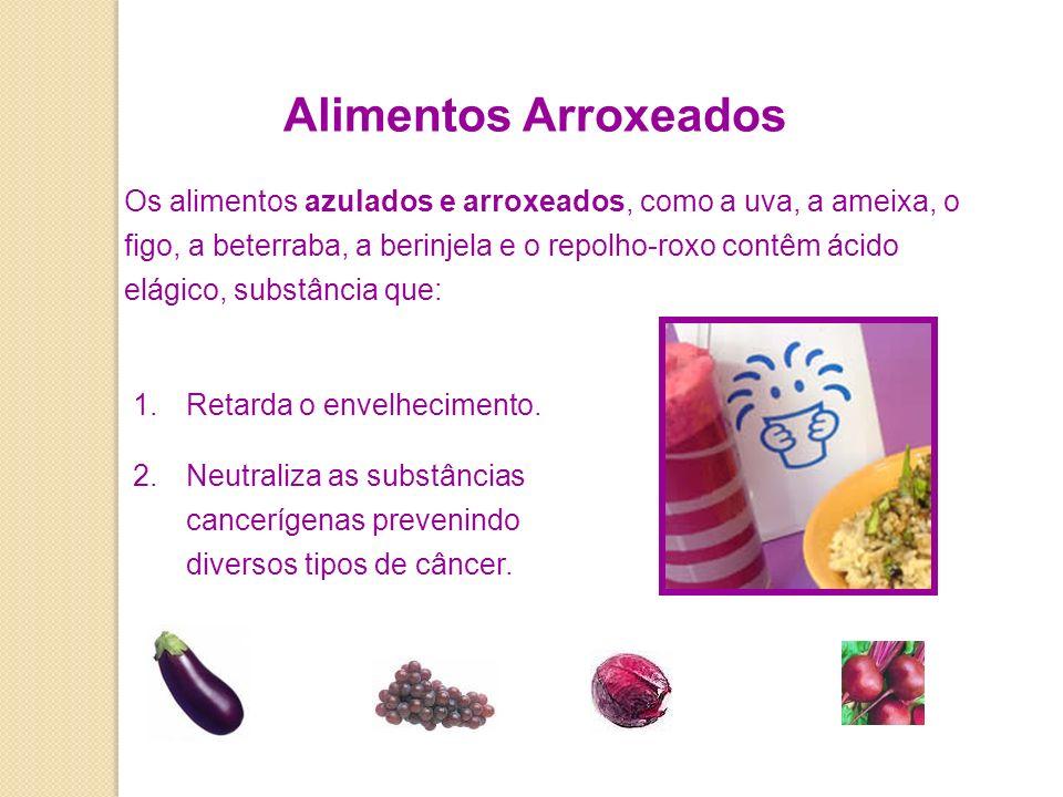 Alimentos Arroxeados Os alimentos azulados e arroxeados, como a uva, a ameixa, o figo, a beterraba, a berinjela e o repolho-roxo contêm ácido elágico, substância que: 1.Retarda o envelhecimento.
