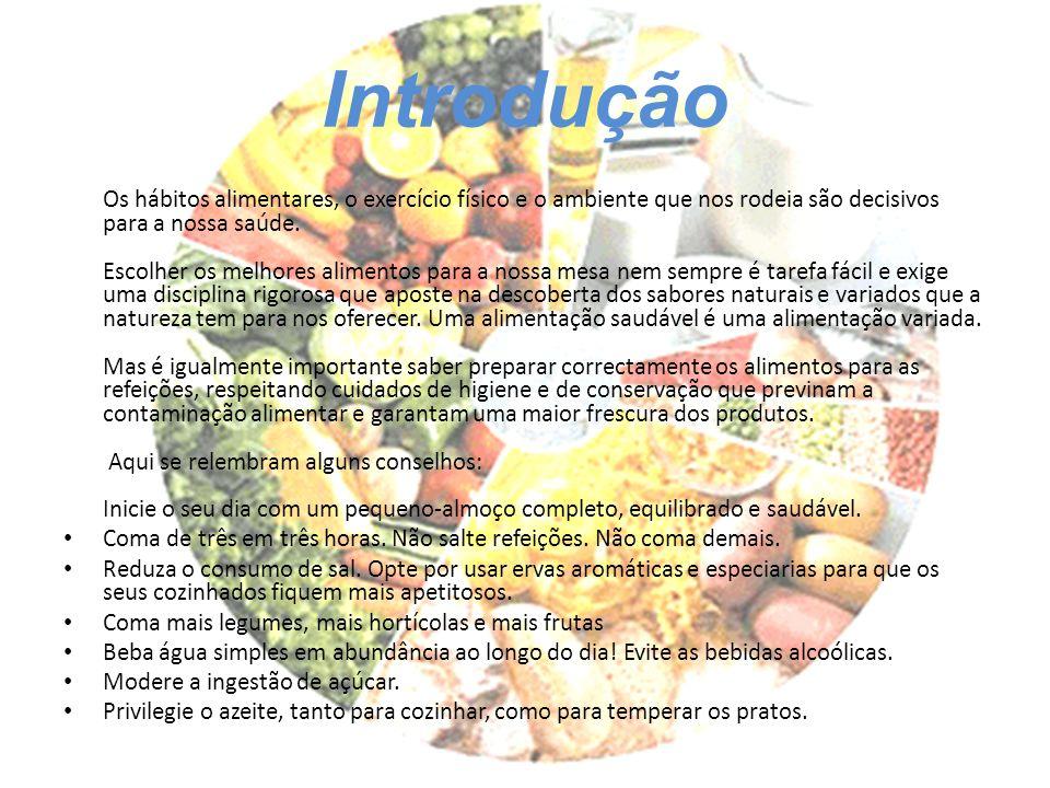 Introdução Os hábitos alimentares, o exercício físico e o ambiente que nos rodeia são decisivos para a nossa saúde. Escolher os melhores alimentos par