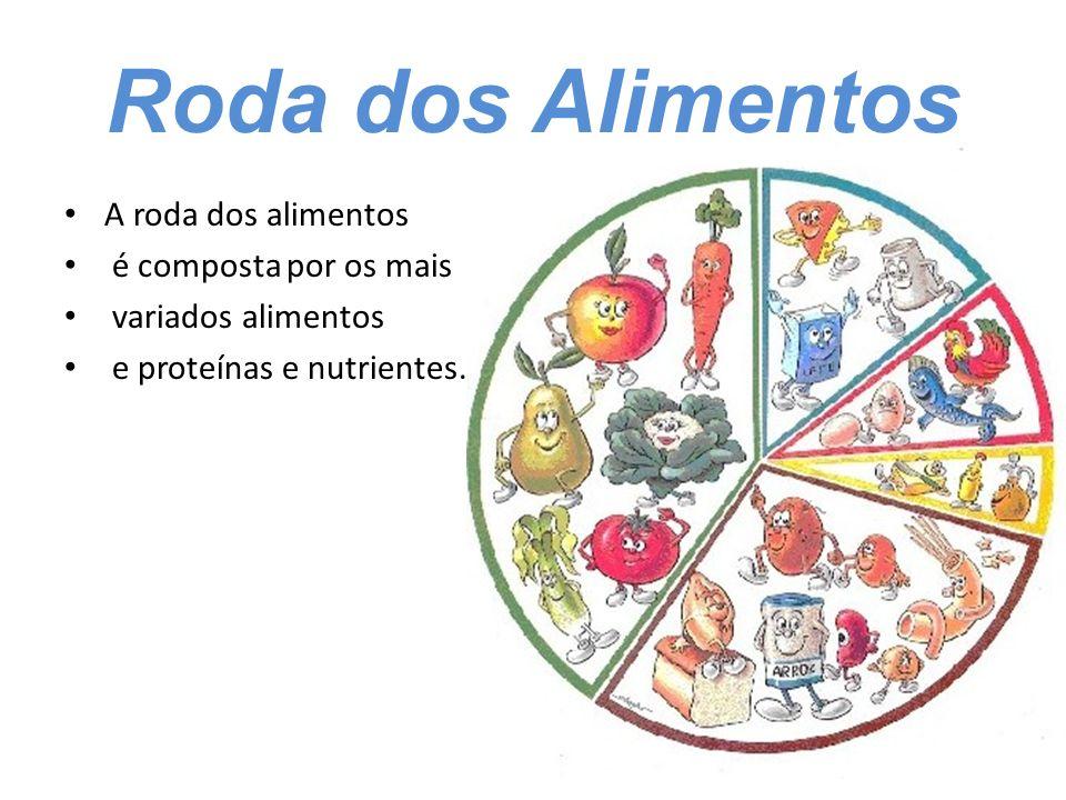 Roda dos Alimentos A roda dos alimentos é composta por os mais variados alimentos e proteínas e nutrientes.