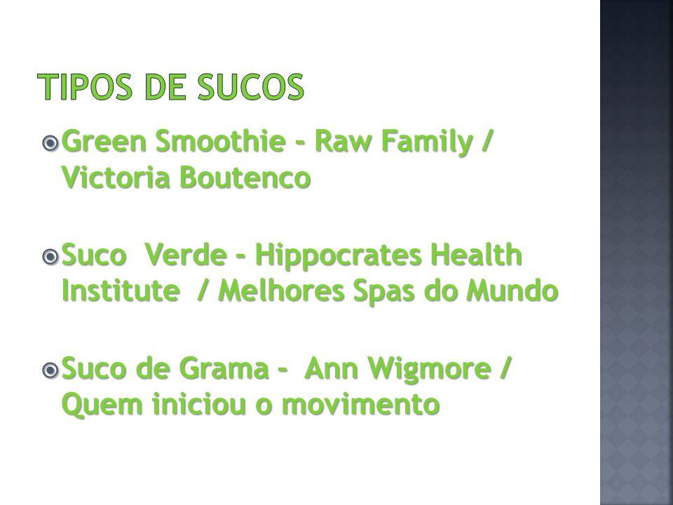 Green Smoothie - Raw Family / Victoria Boutenco Green Smoothie - Raw Family / Victoria Boutenco Suco Verde - Hippocrates Health Institute / Melhores S