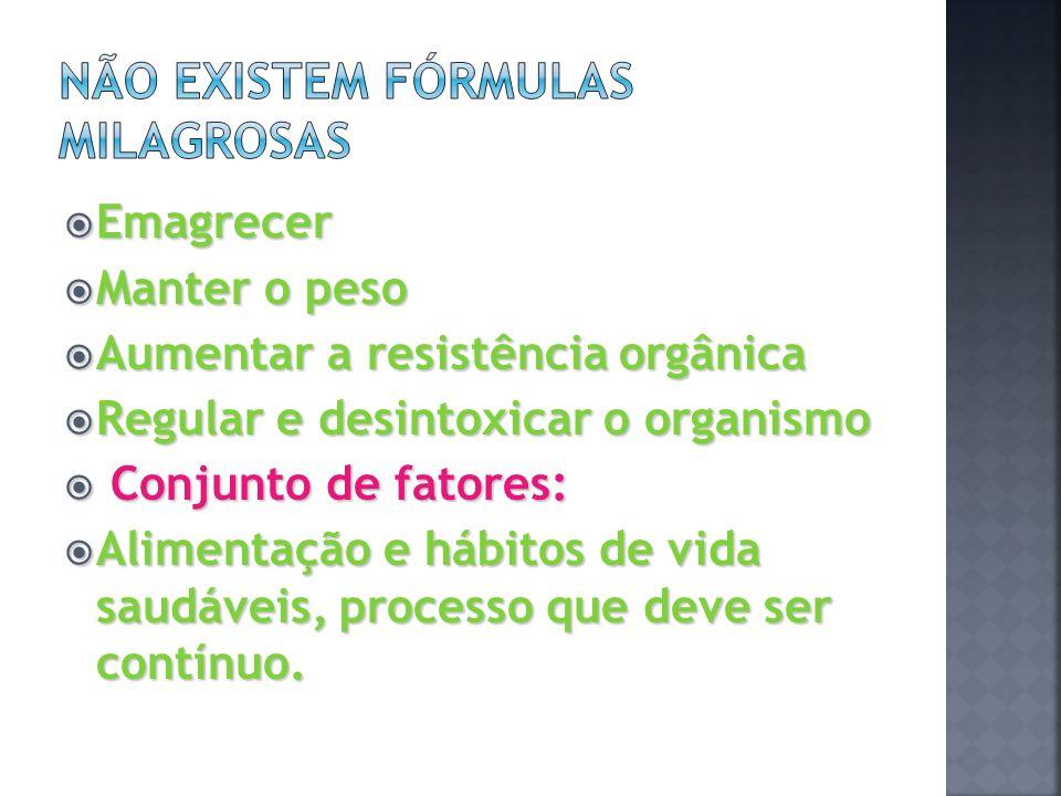 Emagrecer Emagrecer Manter o peso Manter o peso Aumentar a resistência orgânica Aumentar a resistência orgânica Regular e desintoxicar o organismo Reg