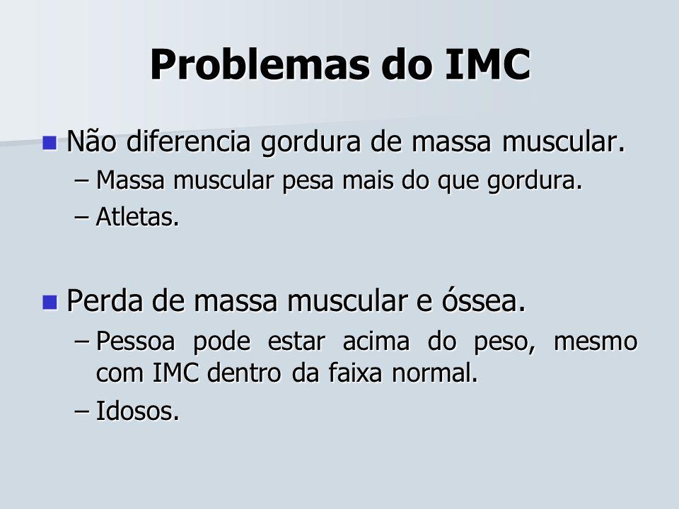 Problemas do IMC Não diferencia gordura de massa muscular. Não diferencia gordura de massa muscular. –Massa muscular pesa mais do que gordura. –Atleta